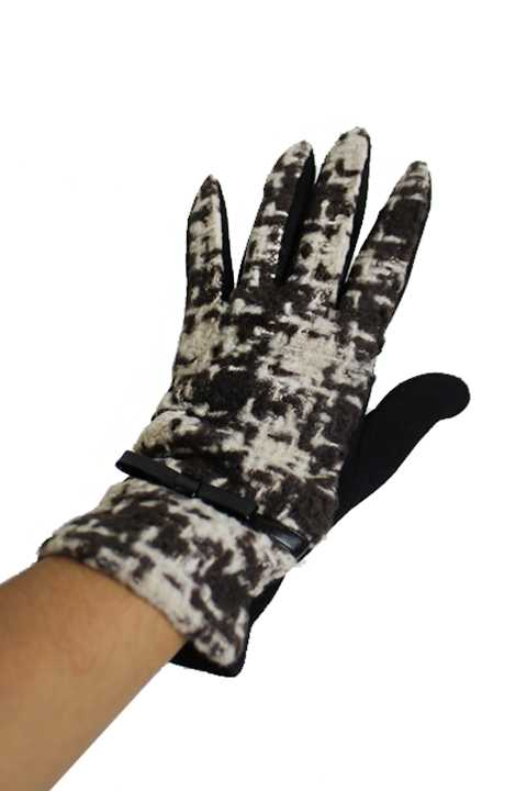 Classic Fashion Checkered Wool Blended Slim Fit Lady Gloves