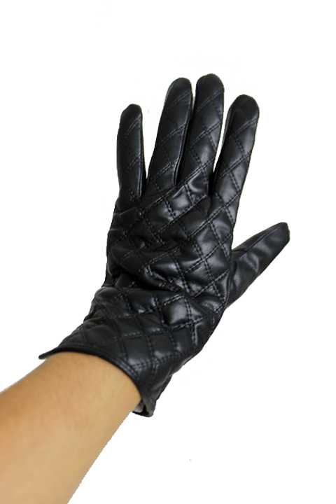Sleek And Black Quilted Stitch Pattern Leather Felt Luxury Lady Gloves