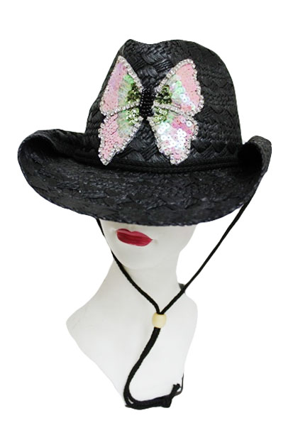 Butterfly with Sequence Crystal Accent Patch Straw Cowboy Hat