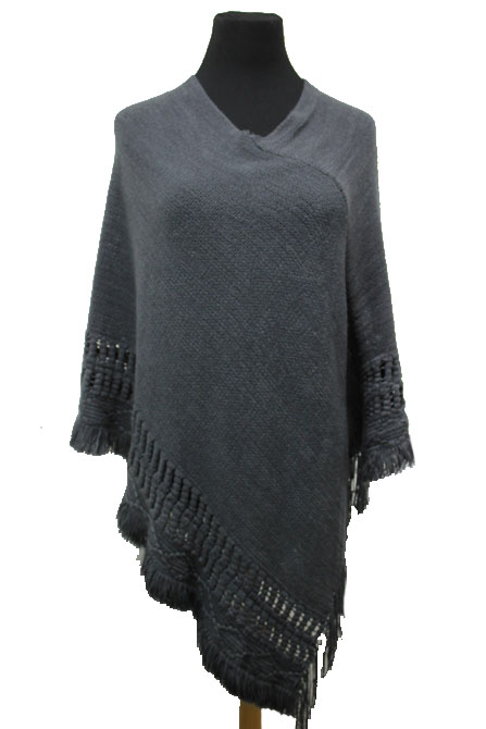 Bubble Knit Soft Long Poncho