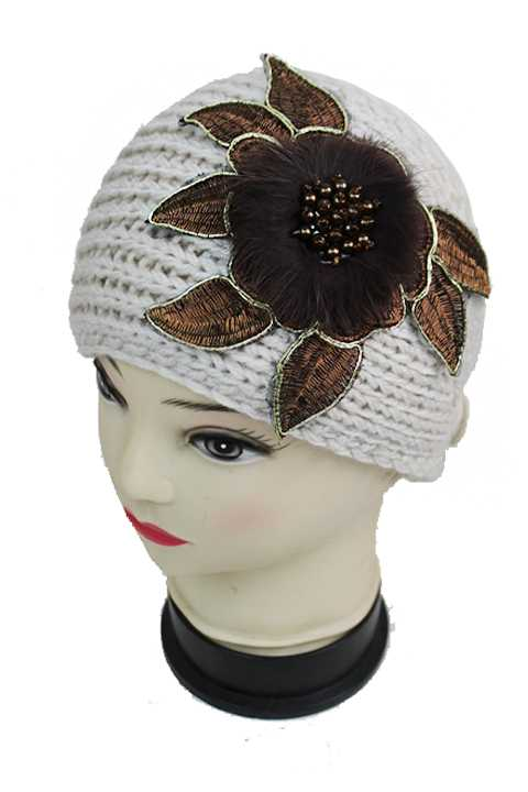 Feather Stem with Beads Knitted Softness Head Band