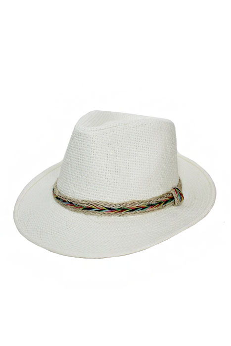 Colorful Tribal Rafa Band White Panamanian Fashion Hat