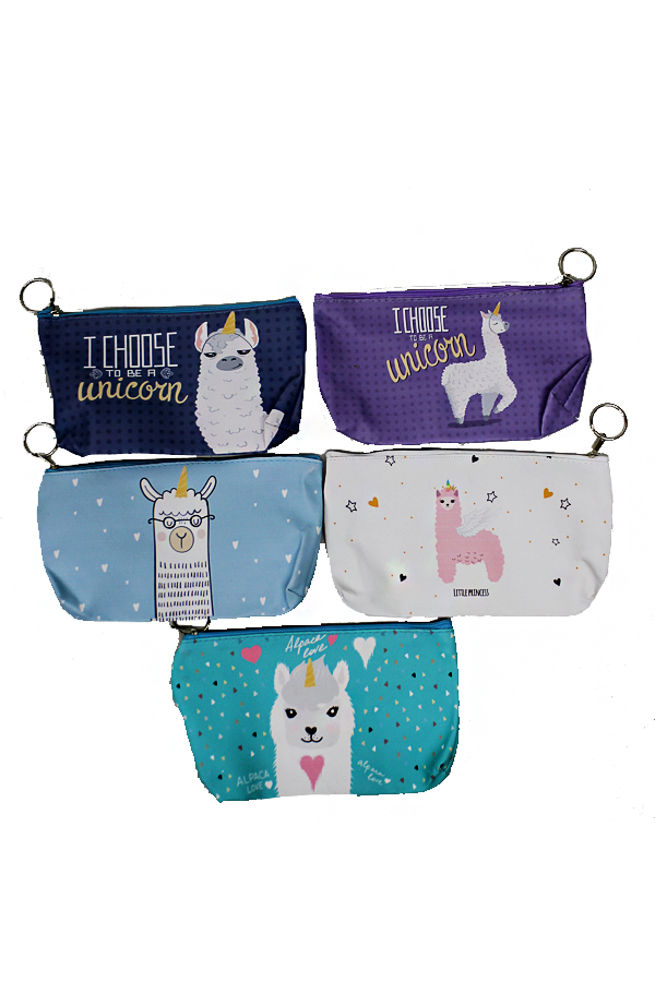 Animated Unicorn Alpaca Printed PVC Cosmetic Pouches