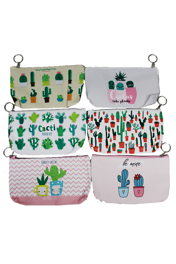 Animated Cactus Printed PVC Cosmetic Pouches