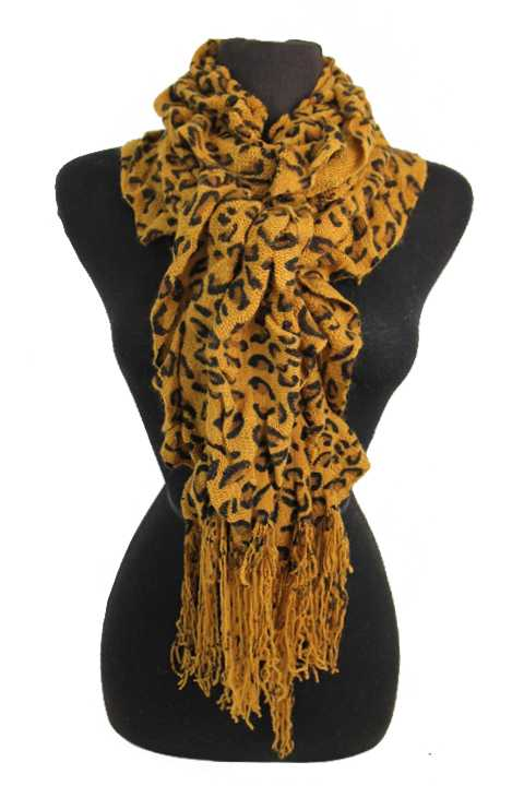 Ruffled And Scrunched Leopard Animal Lover Printed Scarves