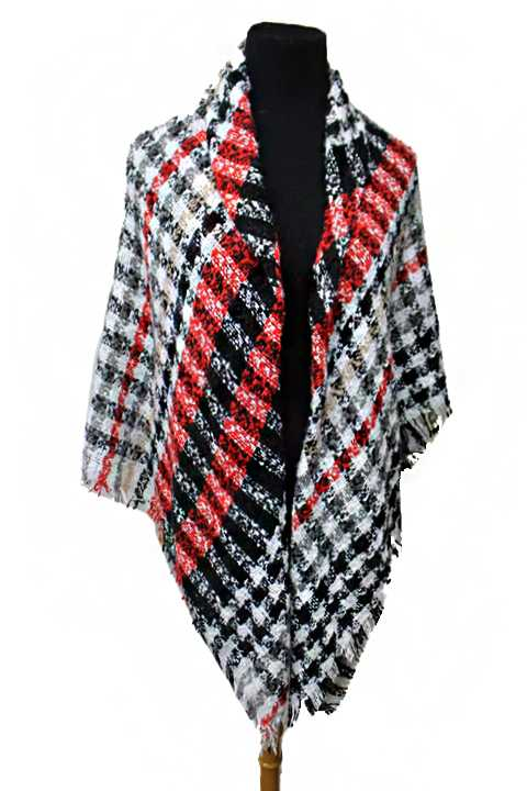 Defined Colored Plaid Printed Lam Texture Blanket Scarves