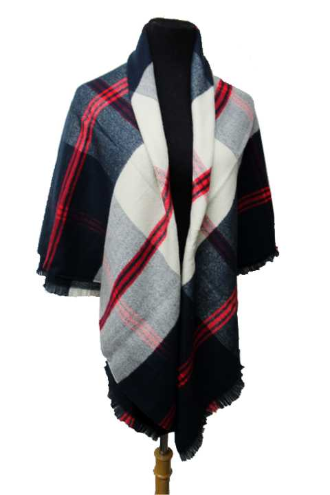 Plaid Pattern Cashmere Feel Soft Blanket Scarf