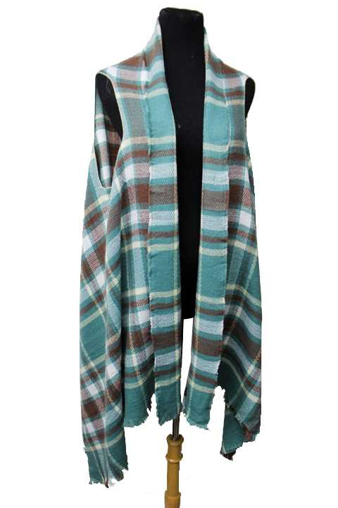 Plaid Pattern  Multi Colored Softness Vest Cardigan