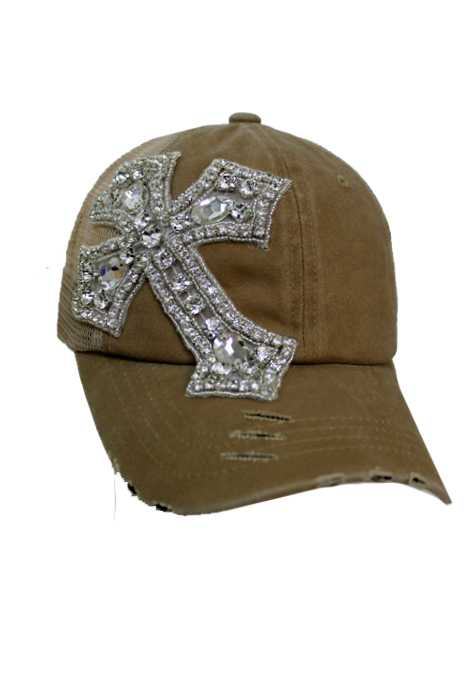 Cross Crystal Rhinestone Design Pigment Dyed Distressed Strap Back Trucker Cap