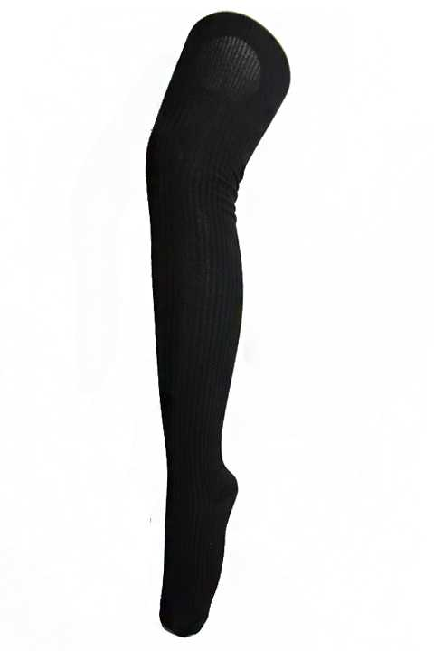 Ribbed Knit Thigh High All Black Fashion Socks