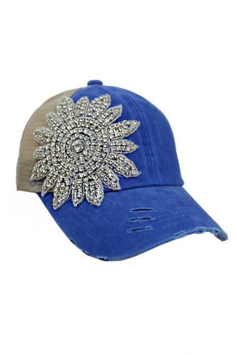 Sun Flower Crystal Rhinestone Design Pigment Dyed Distressed Strap Back Trucker Cap