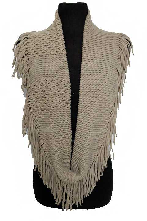 Striped and Checked soft Knitted with fringe Design Infinity Scarf