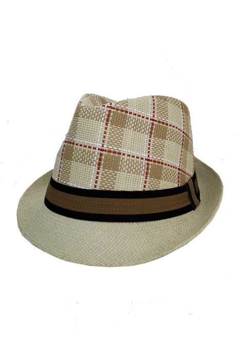 Plaid Pattern Strong Straw with Striped Band design Fedoras