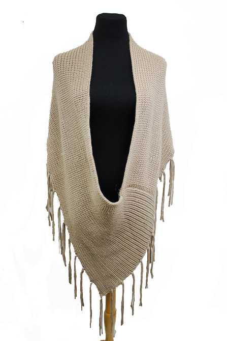 Low Cut Voluminous Fringed  Poncho