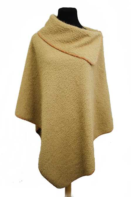 Flexible Full Zip Collar Neck Cape Poncho