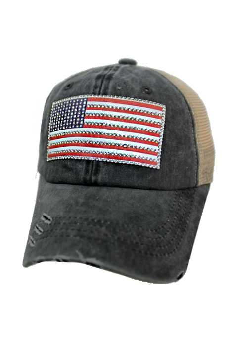 American Flag Rhinestone Design Pigment Dyed Distressed Strap Back Trucker Cap