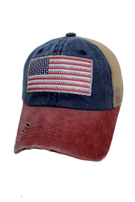 American Flag Rhinestone Design Pigment Three Tone Dyed Distressed Strap Back Trucker Cap