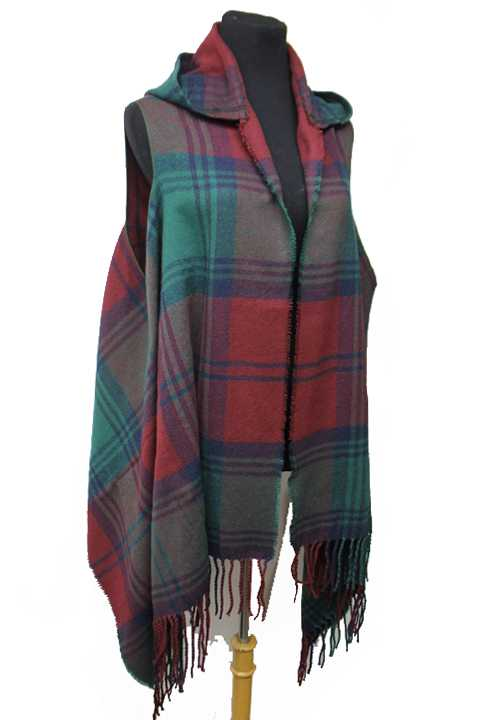Hooded With Skinny Fringe Classic Plaid Fall Vintage Poncho With Arm Holes