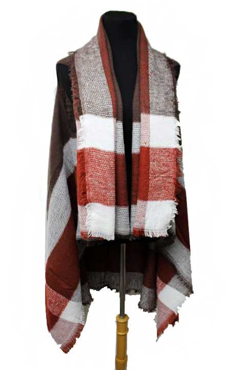 Wide Single Oversize Plaid Line Classic Block Checkered Cardigan Style Vest