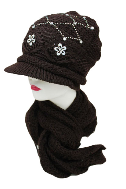 Diamond Pattern Rhinestone design with Visor 2Set Beanies