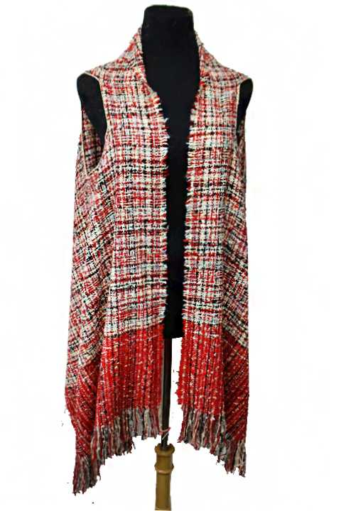 Multi Colored Stripe Plaid Extra Blanket Soft Cardigan Vest Style