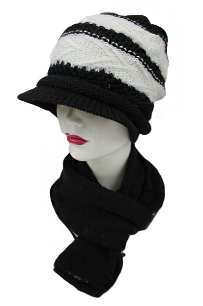 Missoni pattern Stripe design with Visor 2 Set Beanies