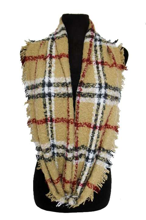 Plaid Patterned Thick Extra Soft Infinity with Vintage Fringe Scarf