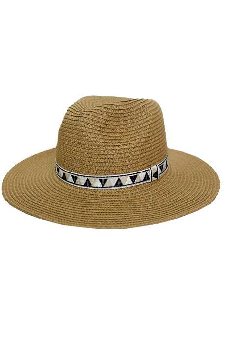 Neutral Tone Triangle Printed Pattern Straight Brim Panama Hat