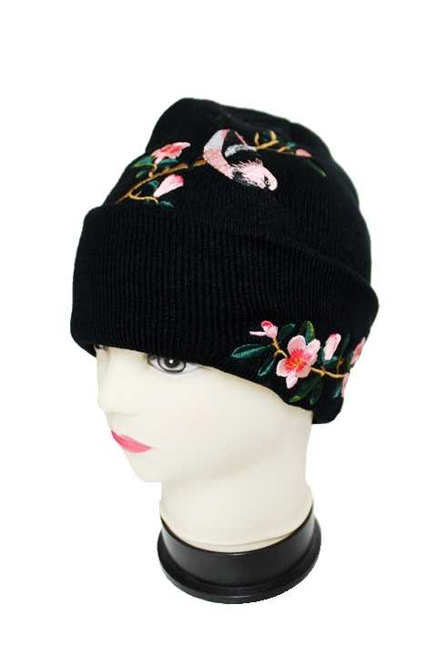 Plain Long Beanie with Embroidered Cherry Blossom Flowers & Bird