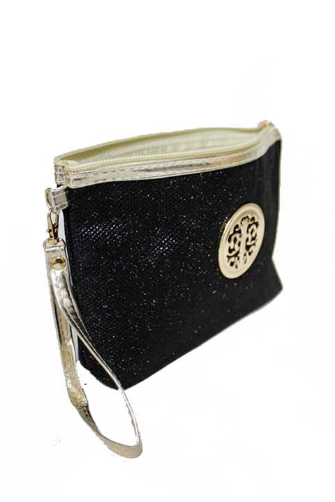 Glitter Shimmer Cosmetic Pouch With Fashion Emblem