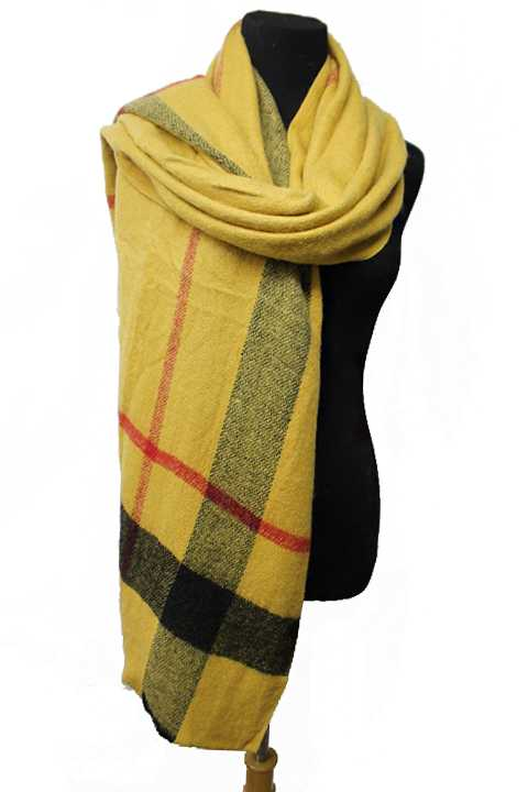 Single Line Plaid Wide Cut Fashion Softness Scarves