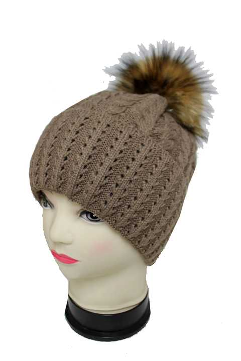 Cable and Missoni Pattern Knitted with Real Fox Fur Pom Pom Inside Warm Fur Beanies