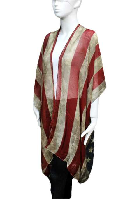 American Flag Semi Sheer Sleeveless Cardigan Vintage  Distressed Kimono Top Cover Up Wrap