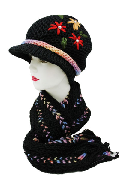 Crochet Flower design Colorful Two Set Beanies