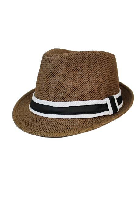 Strong Checkered Pattern Straw with Straw Band Design Fedoras