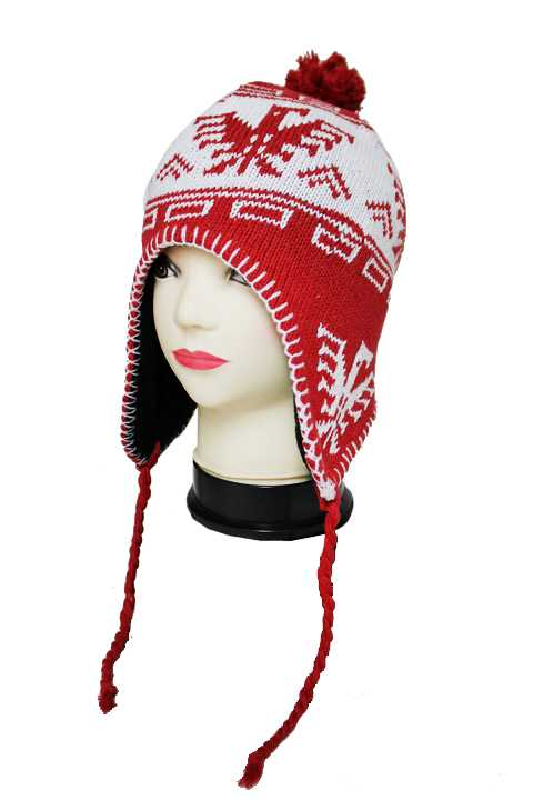 Huelga Eagle Patterned Cable Knit Ear-Covering Beanie with Pom Pom