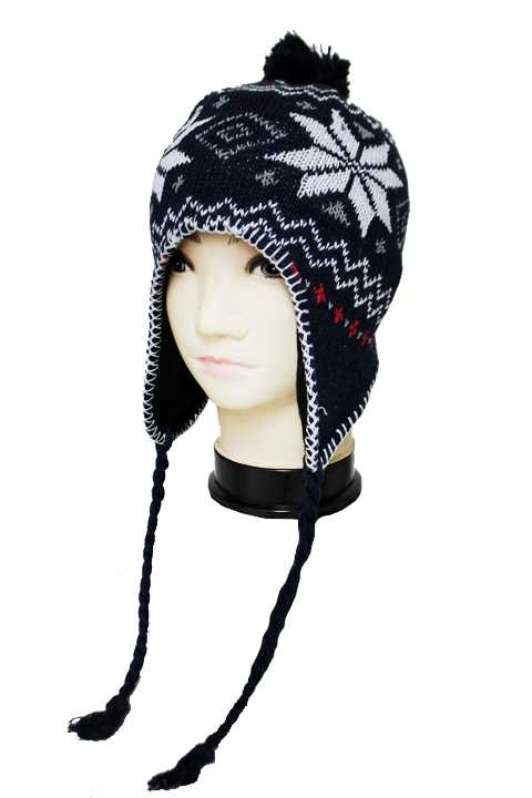 Snowflake & Zig Zag Patterned Ear-Covering Beanie with Pom Pom