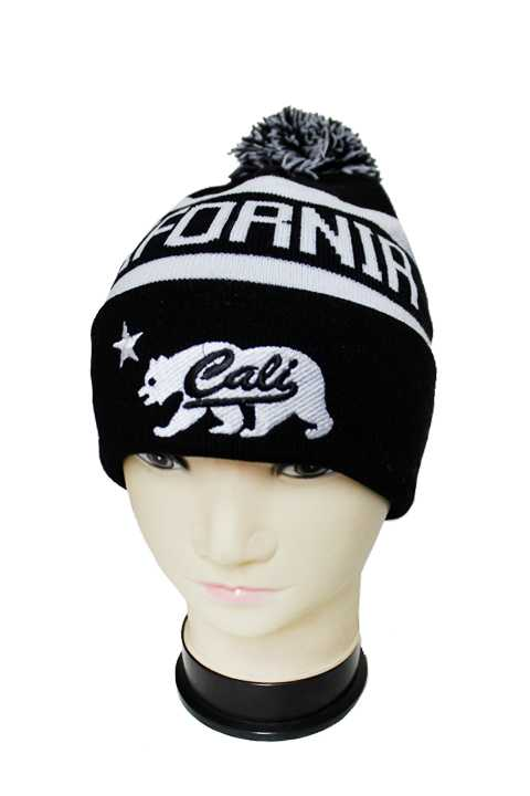 "Three Tone Striped ""Cali"" Beanie with Pom Pom"