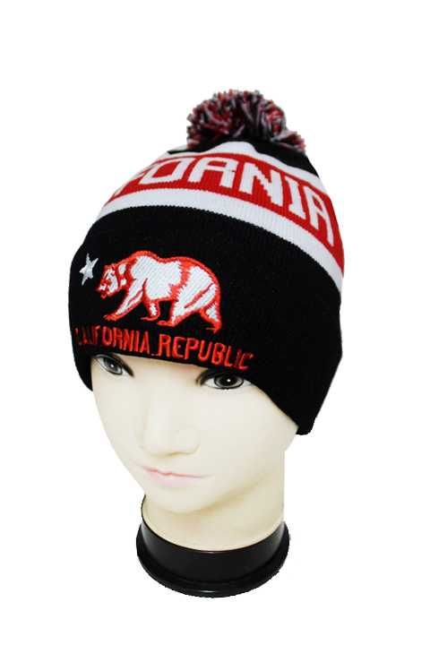 "Three Tone ""California Republic"" Beanie with Pom Pom"