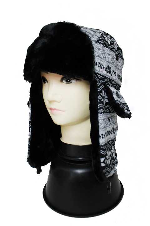Two Tone Snowflake Patterned Bomber Hat with Faux Fur