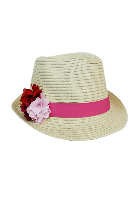 Toyo Flexible Girl Youth Fedora with Flower Bouquet Band