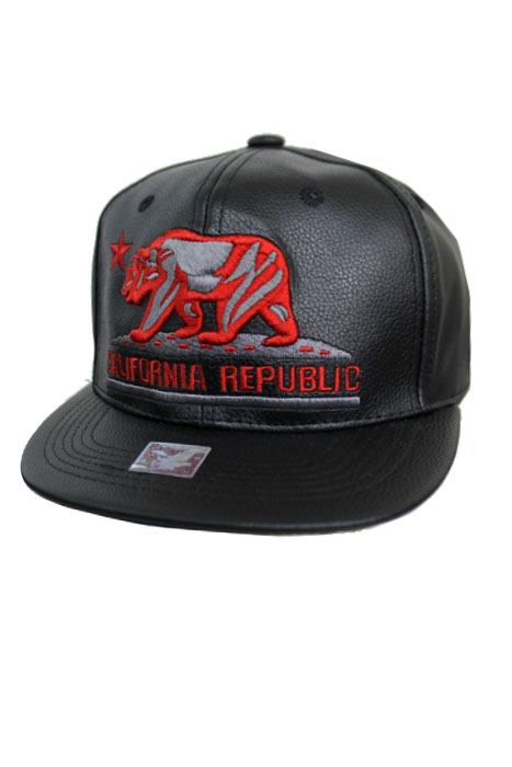 California Bear republic Thick Faux Leather Snap Back
