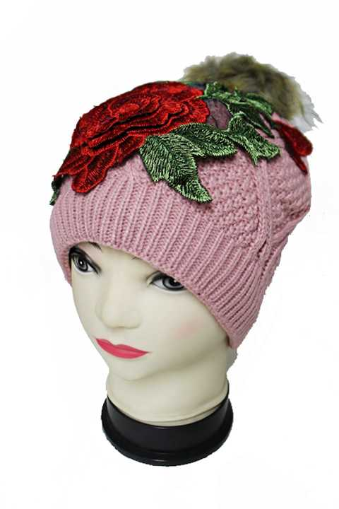 Red Peony Fur Pom Pom Knitted Fur Lined Fashion Beanies