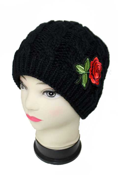 Mini Red Rose Patch Work Knit Short Cut Beanies With Fur Lining