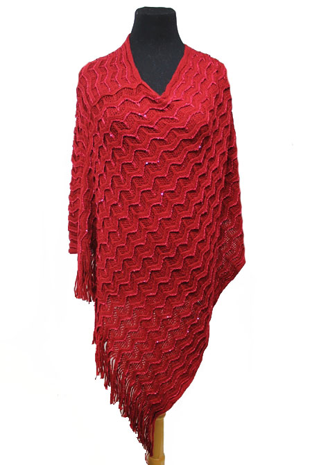 Double Layer Zig-Zeg Pattern with Sequins Poncho
