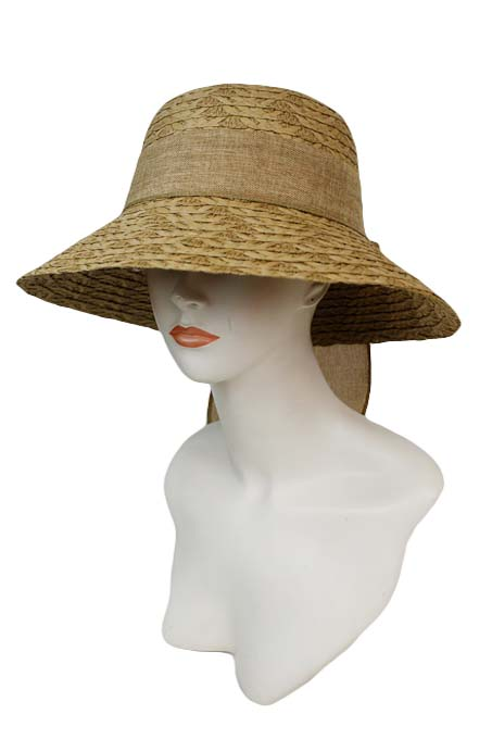 Braid Pattern Straw with Bow Bucket Hat