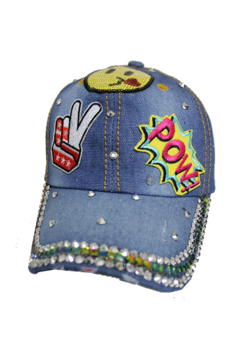 Kissing Face Pow Emoji Fashion Embroidered Denim Fashion Cap