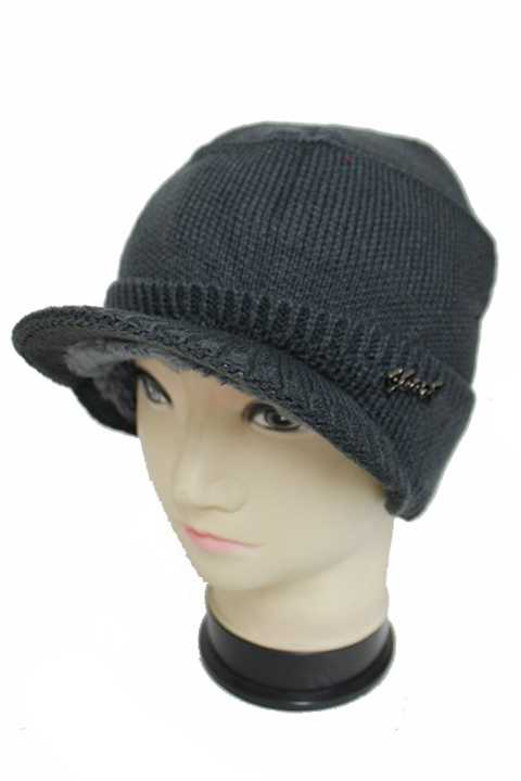 Visor Bill Ribbed Stretchy Fabric Knitted Fur Line Beanies