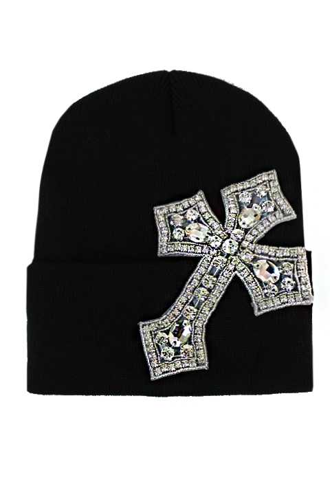 Cross Design Crystal Rhinestone Long Beanies