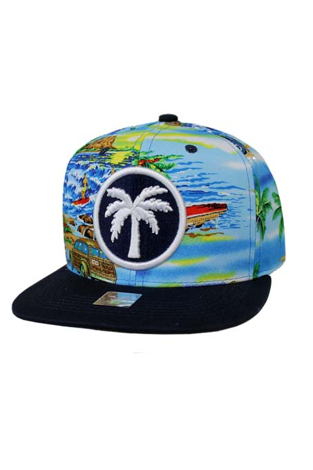 Pom Tree with Beach Print Design Cotton Snap Back